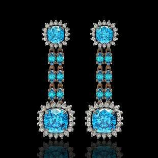 19.64 ctw Swiss Topaz & Diamond Earrings 14K Rose Gold