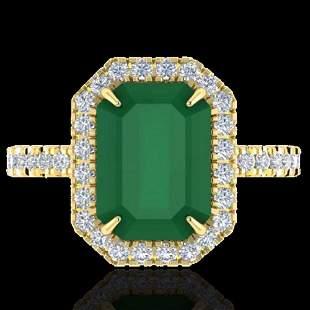 5.33 ctw Emerald & Micro Pave VS/SI Diamond Ring 18k