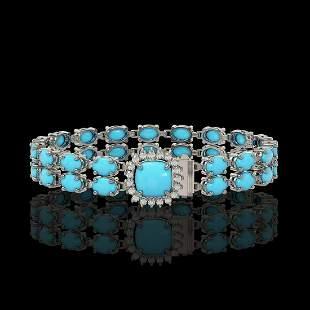 13.37 ctw Turquoise & Diamond Bracelet 14K White Gold -