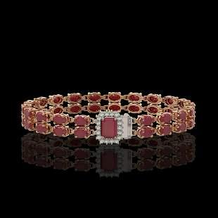 19.07 ctw Ruby & Diamond Bracelet 14K Rose Gold -