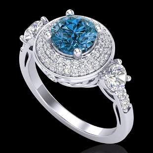2.05 ctw Intense Blue Diamond Art Deco 3 Stone Ring 18k
