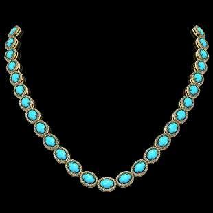 36.208 ctw Turquoise & Diamond Micro Pave Halo Necklace