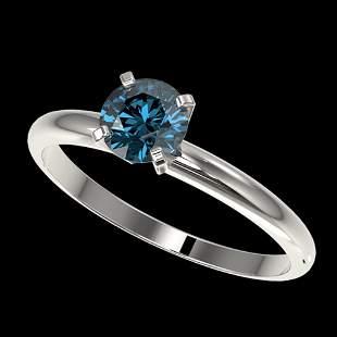 0.75 ctw Certified Intense Blue Diamond Engagment Ring