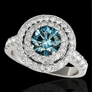 2.25 ctw SI Certified Fancy Blue Diamond Halo Ring 10k