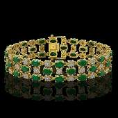 25.85 ctw Emerald & Diamond Bracelet 10K Yellow Gold -
