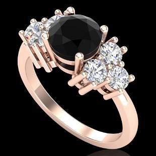 2.1 ctw Fancy Black Diamond Engagment Ring 18k Rose