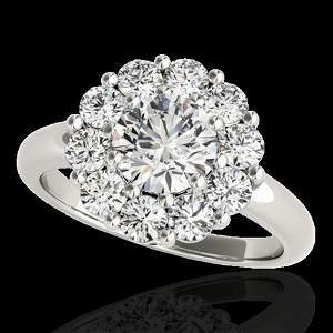 2.85 ctw Certified Diamond Solitaire Halo Ring 10k
