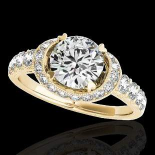 1.75 ctw Certified Diamond Solitaire Halo Ring 10k