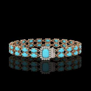 13.04 ctw Turquoise & Diamond Bracelet 14K Rose Gold -