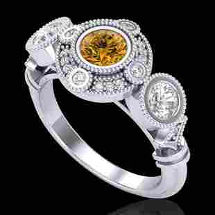 1.51 ctw Intense Fancy Yellow Diamond Art Deco Ring 18k