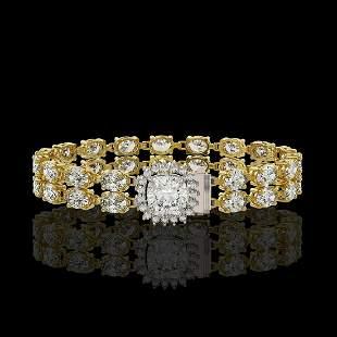 13.82 ctw Cushion Cut & Oval Diamond Bracelet 18K