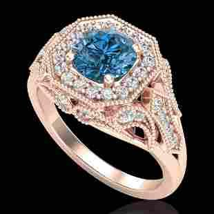 1.75 ctw Fancy Intense Blue Diamond Art Deco Ring 18k