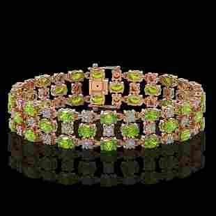 15.64 ctw Peridot & Diamond Row Bracelet 10K Rose Gold