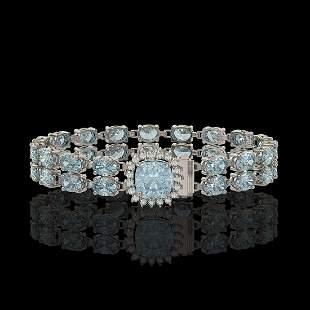 17.67 ctw Sky Topaz & Diamond Bracelet 14K White Gold -