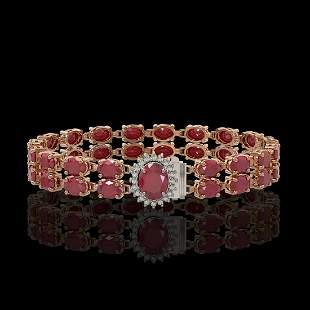30.12 ctw Ruby & Diamond Bracelet 14K Rose Gold -