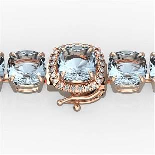 35 ctw Aquamarine & Micro Pave Diamond Bracelet 14k