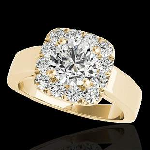 1.55 ctw Certified Diamond Solitaire Halo Ring 10k