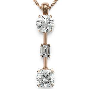 1.75 ctw Cushion Cut Diamond Designer Necklace 18K Rose
