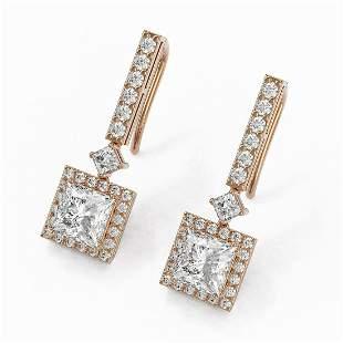 3 ctw Princess Cut Diamond Designer Earrings 18K Rose