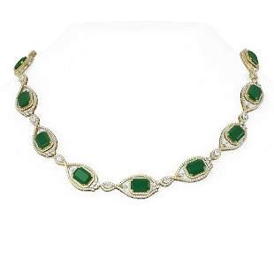 84.96 ctw Emerald & Diamond Necklace 18K Yellow Gold -