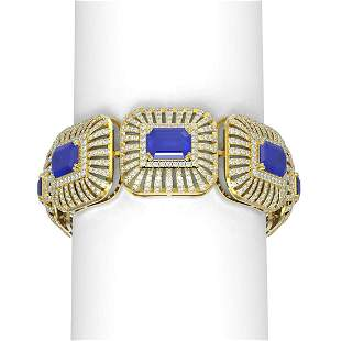 56.47 ctw Sapphire & Diamond Bracelet 18K Yellow Gold -