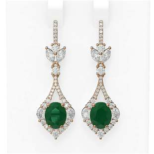 10.52 ctw Emerald & Diamond Earrings 18K Rose Gold -