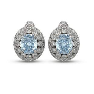 13.21 ctw Aquamarine & Diamond Victorian Earrings 14K
