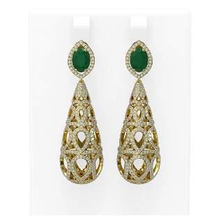 7.82 ctw Emerald & Diamond Earrings 18K Yellow Gold -