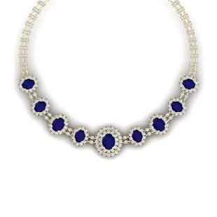45.69 ctw Sapphire & VS Diamond Necklace 18K Yellow