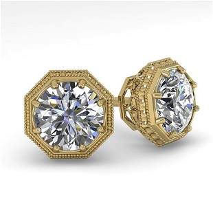 1.0 ctw VS/SI Diamond Stud Solitaire Earrings Art Deco