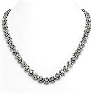 23.95 ctw Diamond Micro Pave Necklace 18K White Gold -