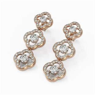 5 ctw Diamond Designer Earrings 18K Rose Gold -