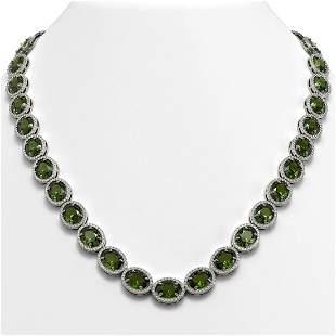 54.48 ctw Tourmaline & Diamond Micro Pave Halo Necklace