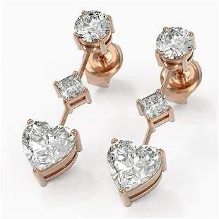 2.32 ctw Heart Diamond Designer Earrings 18K Rose Gold
