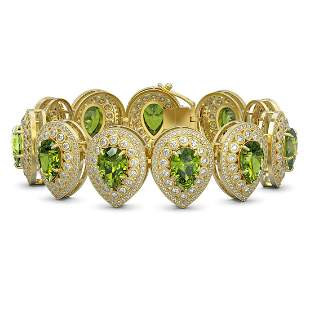 57.24 ctw Tourmaline & Diamond Victorian Bracelet 14K