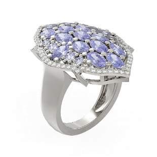 6.14 ctw Tanzanite & Diamond Ring 18K White Gold -
