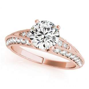 1.58 ctw Certified VS/SI Diamond Antique Ring 14k Rose