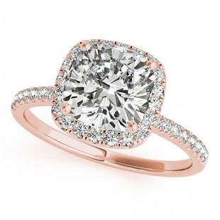 1.08 ctw Certified VS/SI Cushion Diamond Halo Ring 14k