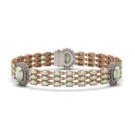 24.76 ctw Opal & Diamond Bracelet 14K Rose Gold -