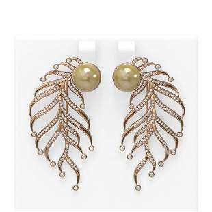 2.1 ctw Diamond & Pearl Earrings 18K Rose Gold -
