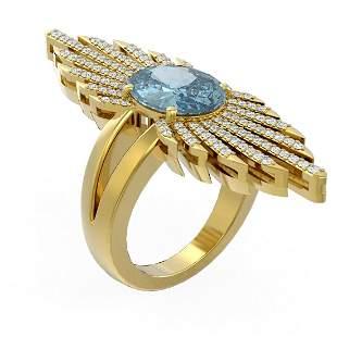 4.47 ctw Blue Topaz & Diamond Ring 18K Yellow Gold -