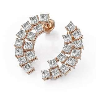 3.6 ctw Princess Cut Diamond Designer Earrings 18K Rose