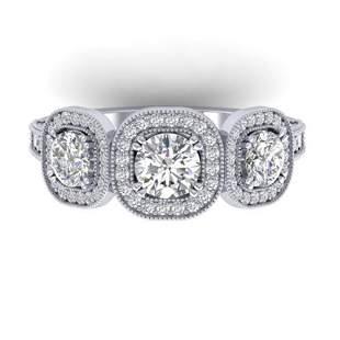 2.25 ctw Certified VS/SI Diamond 3 Stone Micro Ring 18k
