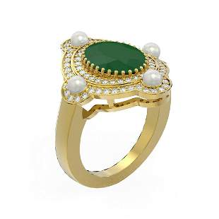 4.78 ctw Emerald & Diamond Ring 18K Yellow Gold -