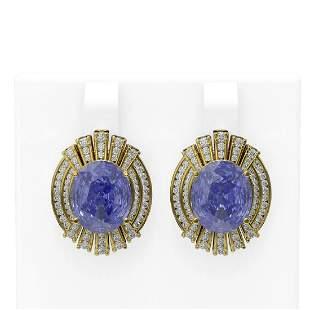 11.58 ctw Tanzanite & Diamond Earrings 18K Yellow Gold