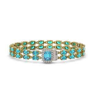 27.91 ctw Swiss Topaz & Diamond Bracelet 14K Yellow