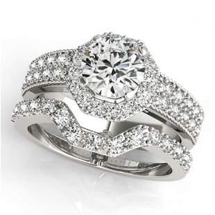 1.69 ctw Certified VS/SI Diamond 2pc Wedding Set Halo