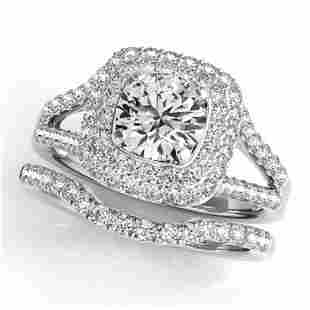 1.72 ctw Certified VS/SI Diamond 2pc Wedding Set Halo