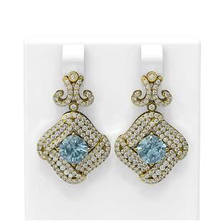 6.91 ctw Aquamarine & Diamond Earrings 18K Yellow Gold