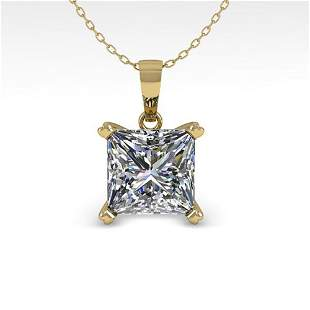 0.50 ctw VS/SI Princess Diamond Designer Necklace 18k